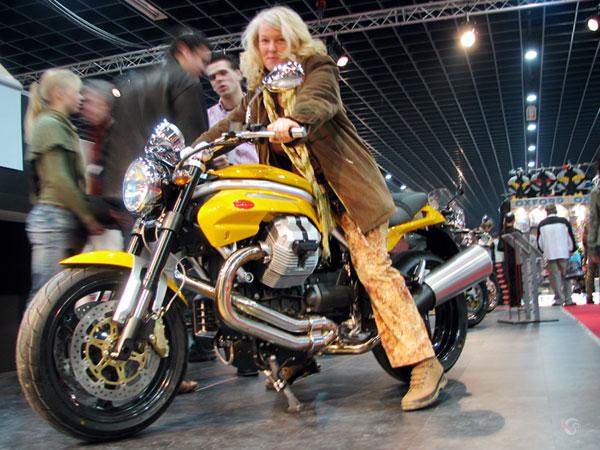 Sylvia on a Moto Guzzi Griso