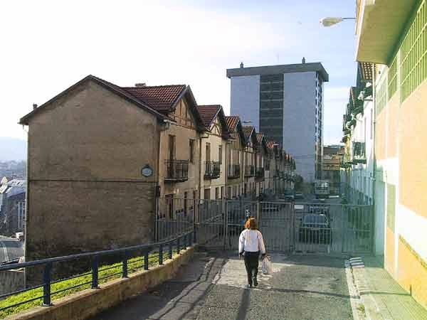 Sylvia wandelt op hek af, met huizen daar achter