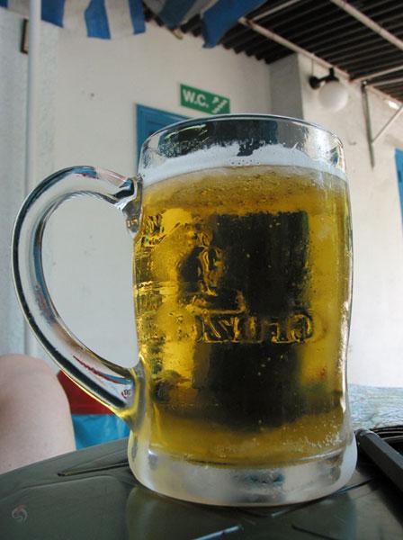 Glas bier met ijs