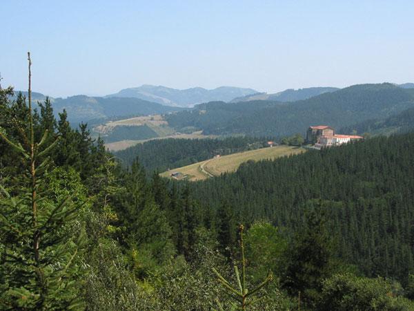 Groene heuvels met kerkje beneden