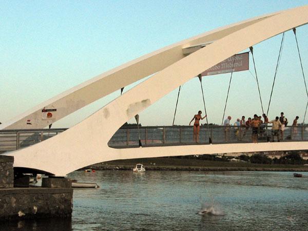 Mensen springen van brug