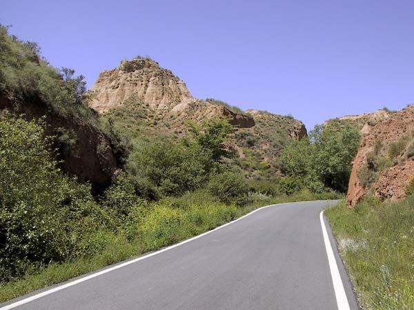Smalle asfalrweg slaat rechtsaf, vanuit het groen tussen rode rotsen