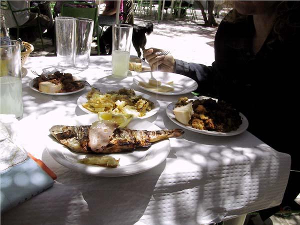 Nog meer op tafel: een vis, kaas, migas