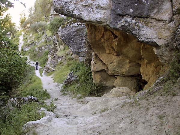 Smal pad langs overhangende rotsen, weelderige vegetatie