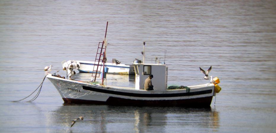 Vissersboot op kalme zee, met visser aan boord