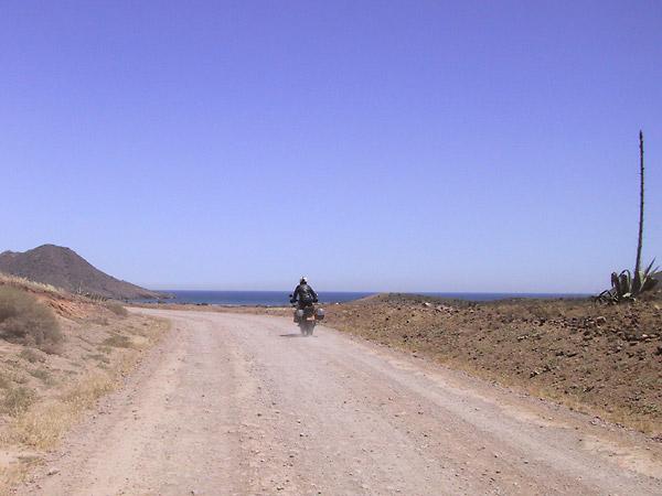 Onverharde weg, een agave, en de zee