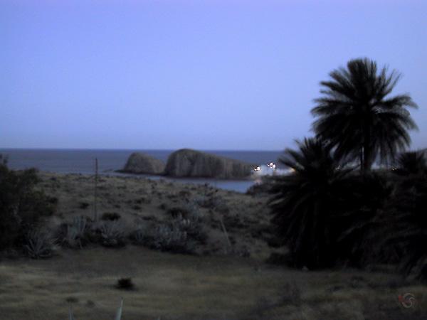 Palmen op de voorgrond; witte huisjes en in zee uitstekende rotsen op de achtergrond