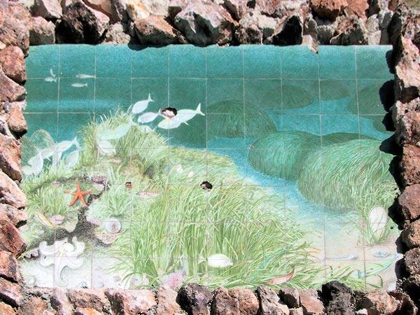 Azuurblauw onderwatertafereel in tegeltjes