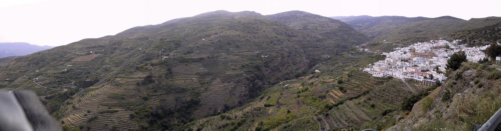 Groene hellingen in terrassen ingedeeld, met wit dorpje bovenaan