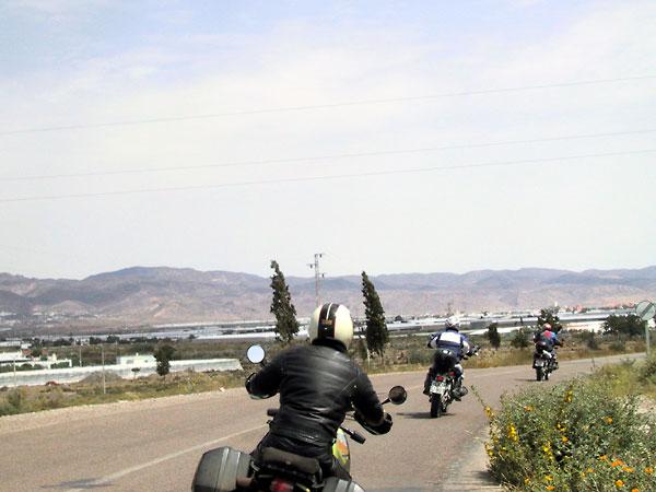 Asfalt, gele struiken langs de weg, en twee motorrijders voor ons