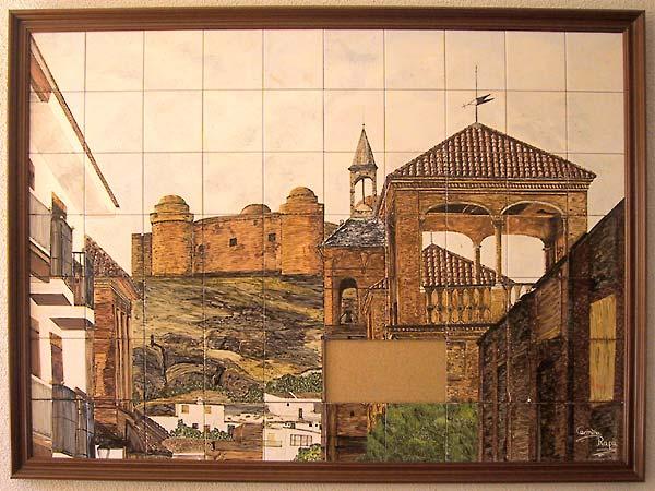Het uitzicht van de straat (met kerk en Castillo) in tegeltjes