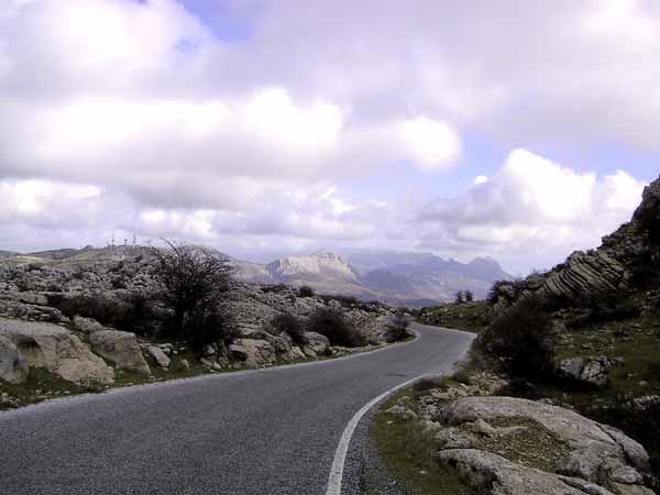 Roads through white rocks