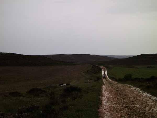 Muddy road in the rain