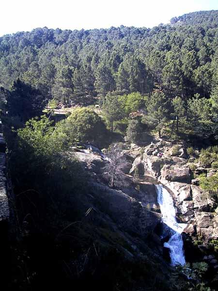 Een wilde riviert dendert langs rotsblekken naar beneden