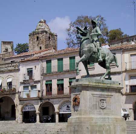 Standbeeld van ruiter te paard
