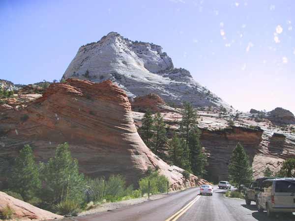 Mountains of white and orange rock